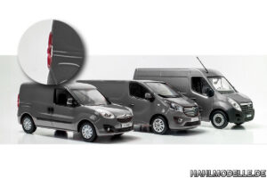3 Kastenwagen: Combo D, Vivaro B, Movano B in grauer Farbgebung